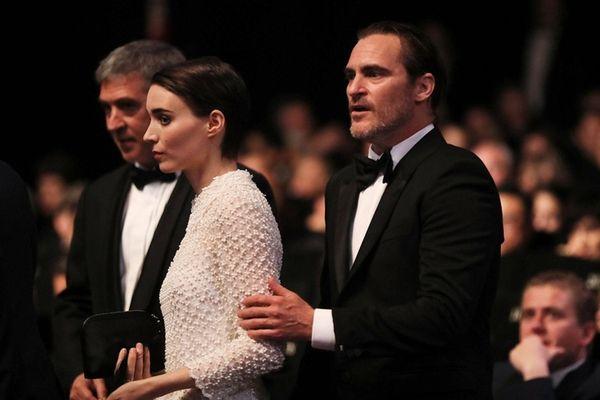 Actors Rooney Mara and Joaquin Phoenix arrive at