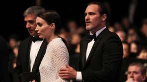 Actors Rooney Mara and Joaquin Phoenix arrive at