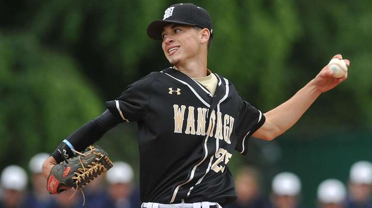Brendan Haas, Wantagh pitcher, delivers to the plate