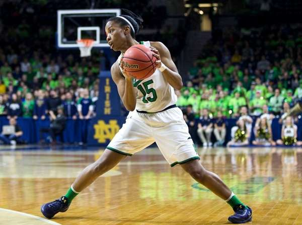 Notre Dame?s Lindsay Allen (15) turns with the
