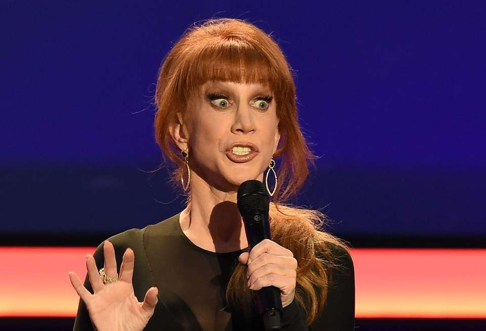 Video and photos of comedian Kathy Griffin holding