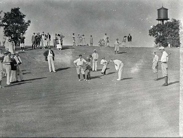 The 10th green during a professional golf exhibition