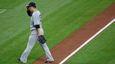 Masahiro Tanaka at end of third inning against