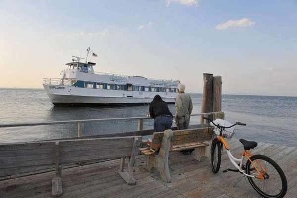 A ferry serving Ocean Beach, Fire Island, is