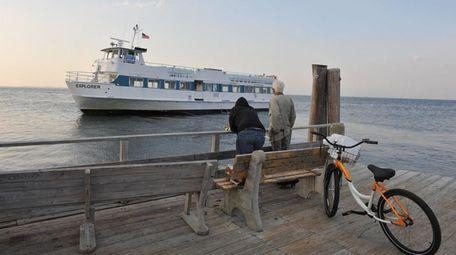 A ferry serving Ocean Beach, Fire Island, is