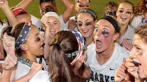 Members of the Eastport-South Manor girls lacrosse team
