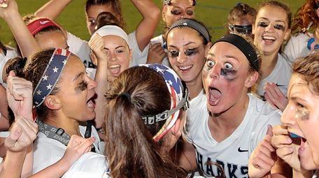 Members of the Eastport-South Manor girls lacrosse team