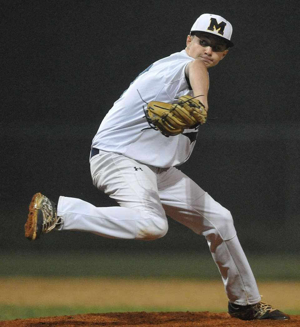 Nick Collins, Massapequa pitcher, delivers to the plate