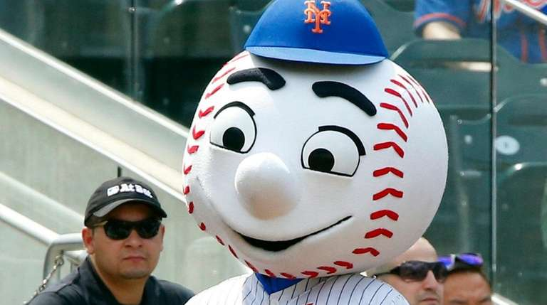 Mr. Met entertains the fans during the seventh-inning