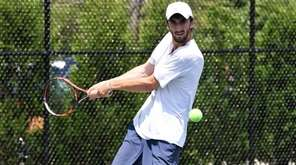 Yuval Solomon prepares to hit a backhand during