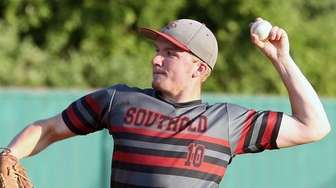 Southold's winning pitcher Dylan Clausen during the Long