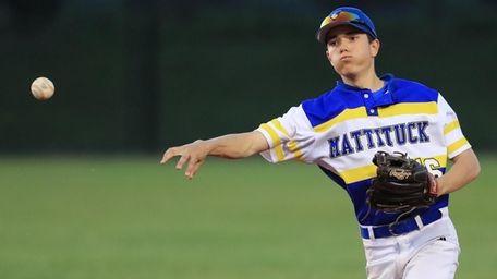 Mattituck's Ryan McCaffrey #16 makes the throw to