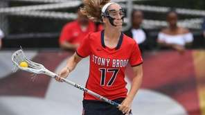 Stony Brook attacker Kylie Ohlmiller controls the ball