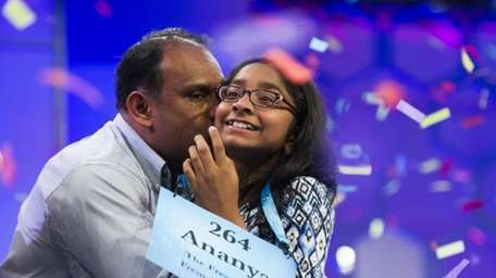 Ananya Vinay, 12, from Fresno, Calif., is kissed