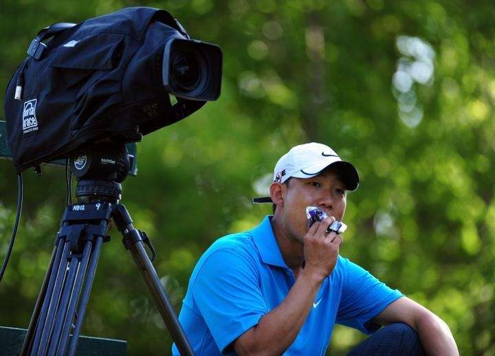 Anthony Kim waits on the 16th tee during
