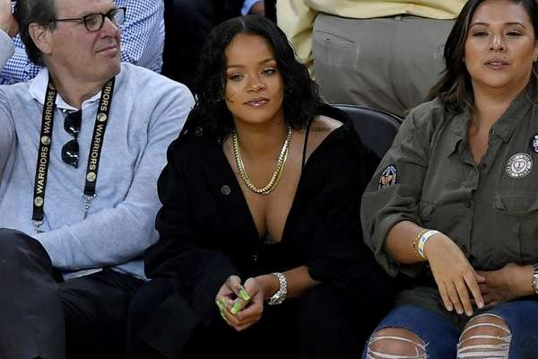 Rihanna attends Game 1 of the 2017 NBA