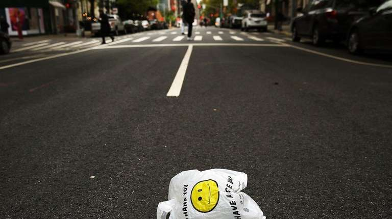 A plastic bag sits in a Manhattan