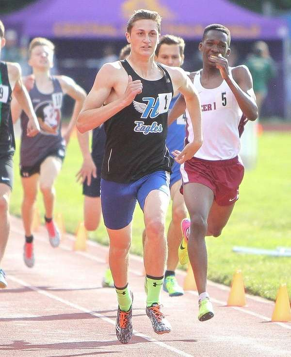 Hauppauge's Nick Crociata wins the 800-meter run during