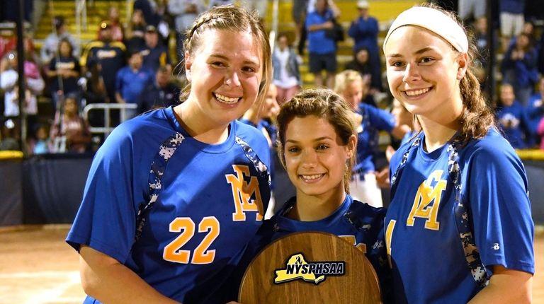 From left, East Meadow's Kelsey Leonard, Jess Marsala,