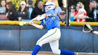 East Meadow's Sara Polansky connects for a hit