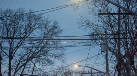 Streetlights on Lafayette Street in Copiague, seen on