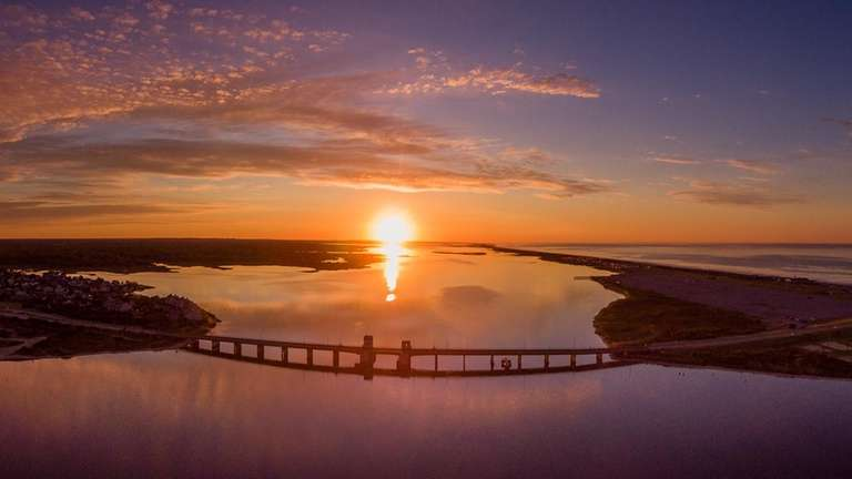 A drone catches the sunrise at Smith Point