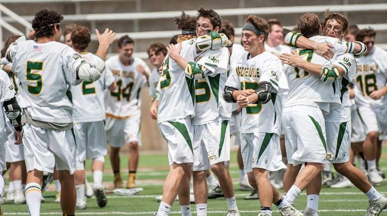 Ward Melville celebrates after beating Massapequa during the