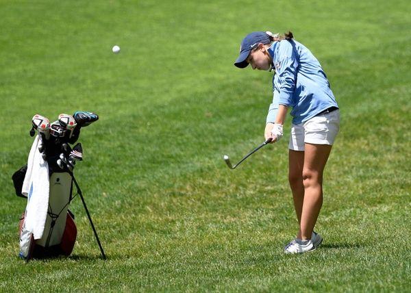 Smithton West's Emily Montagnino drives the ball during