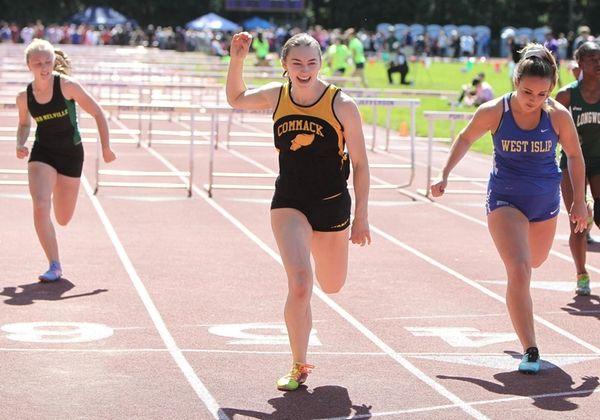 Commack's Amanda McNelis wins the 100 Meter Hurdles