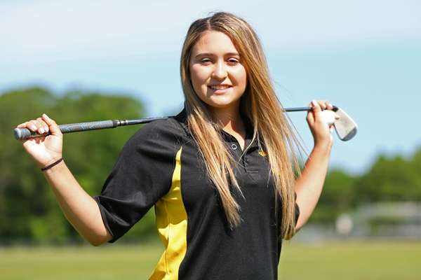 Wantagh golfer Faith Francioso looks on during practice