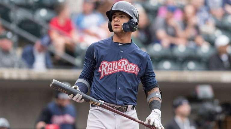 Gleyber Torres of the Scranton-Wilkes Barre RailRiders looks on