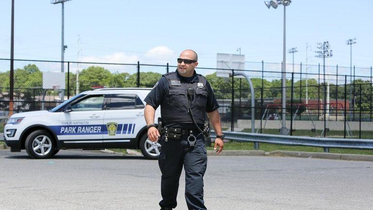 An armed Town of Huntington park ranger patrols