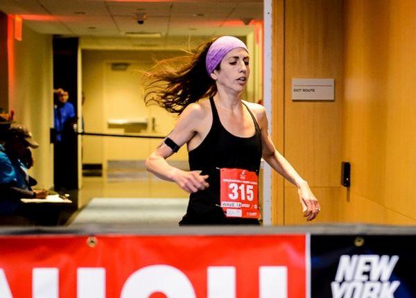 Shari Klarfeld of Plainview crosses the finish line