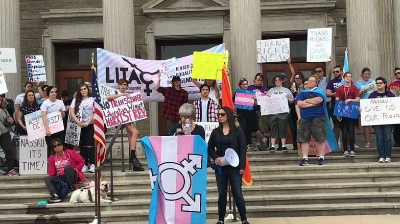 Juli Grey-Owens, a transgender community activist, speaks at