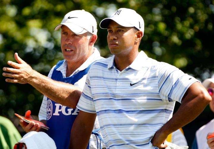 CHASKA, MN - AUGUST 14: Tiger Woods chats