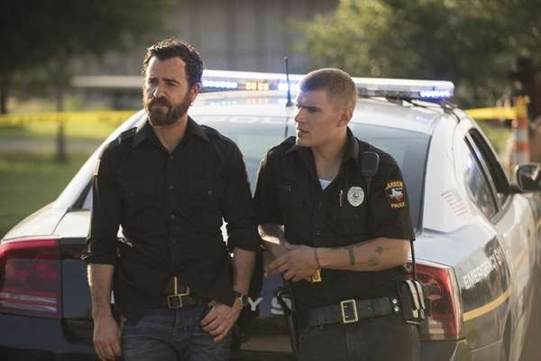 Actors Justin Theroux, left,and Chris Zylka star in