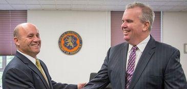 New acting Nassau Police Commissioner Patrick Ryder meets