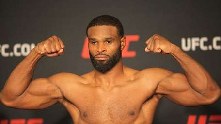 Welterweight champion Tyron Woodley at the early weigh-ins