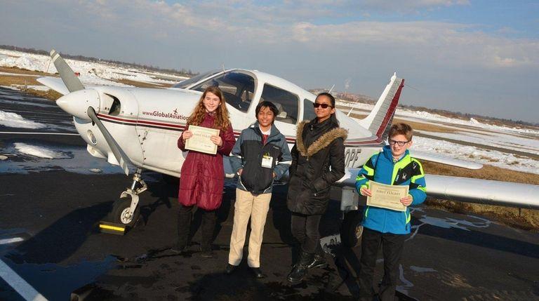 Kidsday reporters, from left, Kira Sherman, Nash Panday,