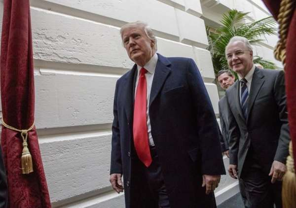 President Donald Trump, followed by Health and Human