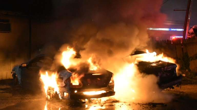Suffolk County police said a car fire was