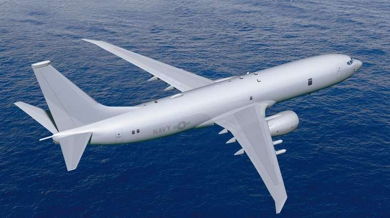 The U.S. Navy P-8A multi-mission maritime aircraft. Amityville-based