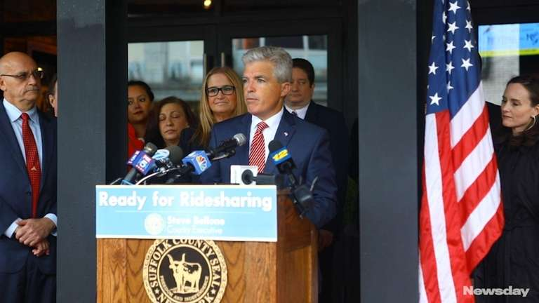 Suffolk County Executive Steve Bellone held a news