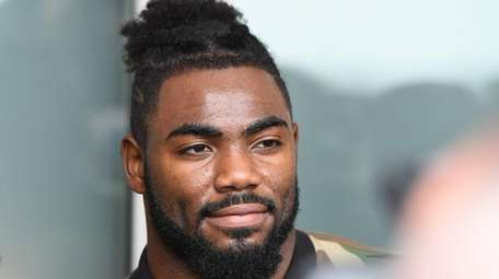 Giants safety Landon Collins answers questions from the