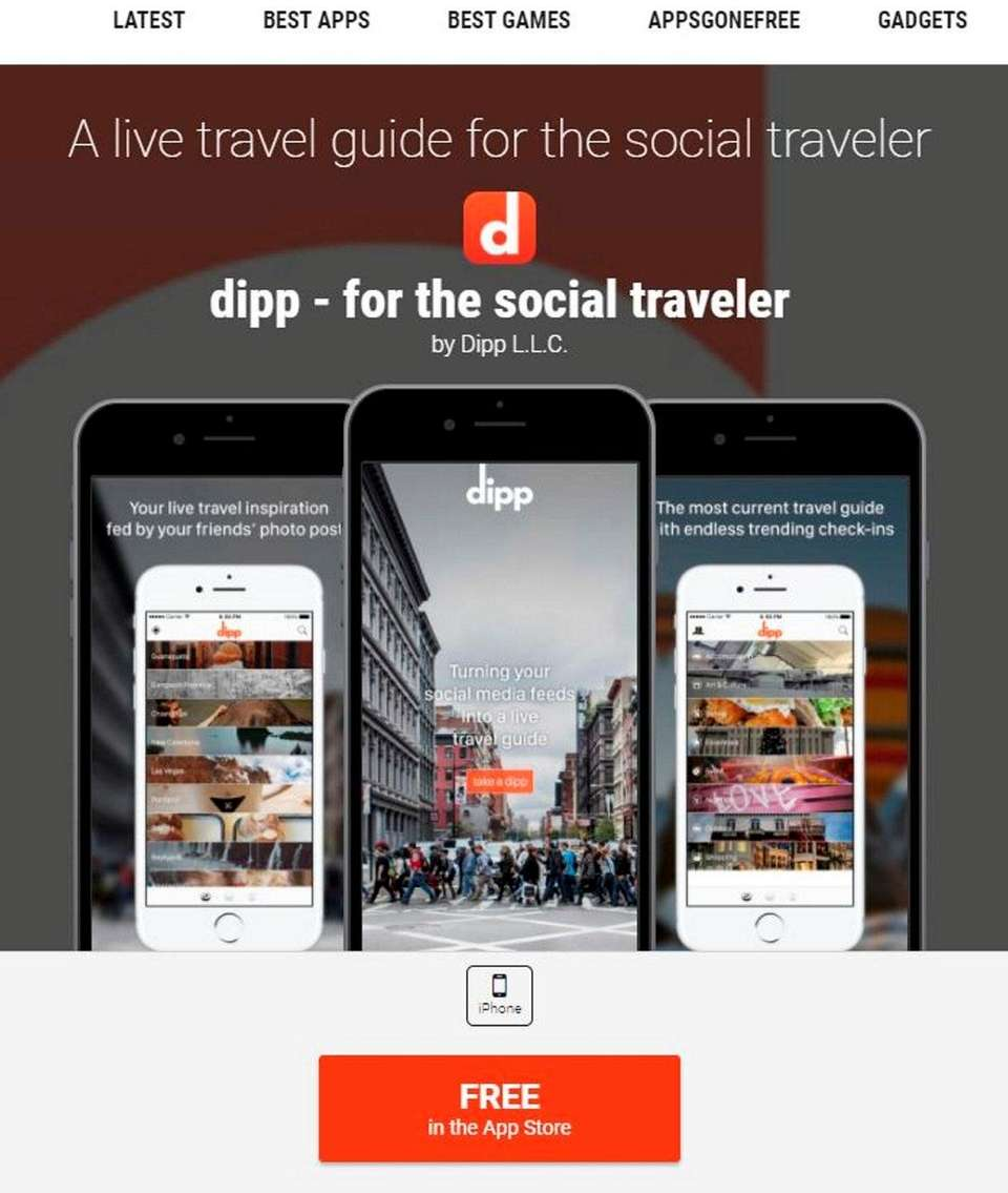 NAME Dipp travel app WHAT IT DOES Lets