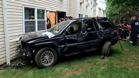 A vehicle crashed into a building in a