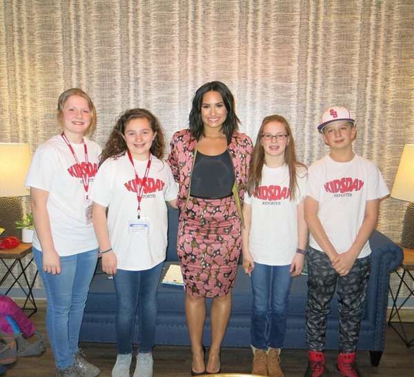 Demi Lovato with Kidsday reporters, from left, Jessica