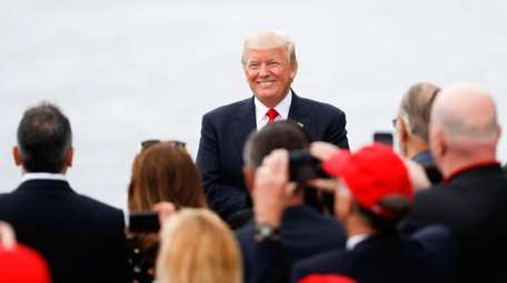 President Donald Trump arrives for a rally at