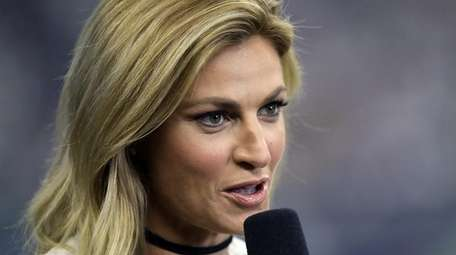 Fox Sports sideline reporter Erin Andrews works during the