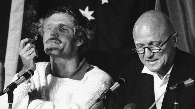 Noel Robbins, left, skipper of Australia, talks of